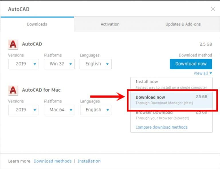 Use the Download Now method for Autodesk Account