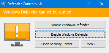 Windows defender can not be started